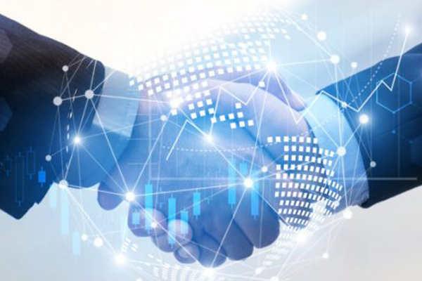 International business people shaking hands