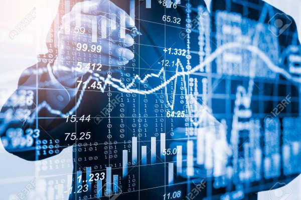 Trader analysing financial data