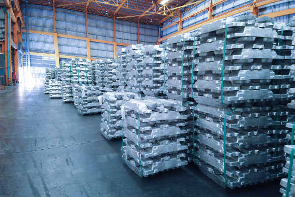 Base metals in warehouse