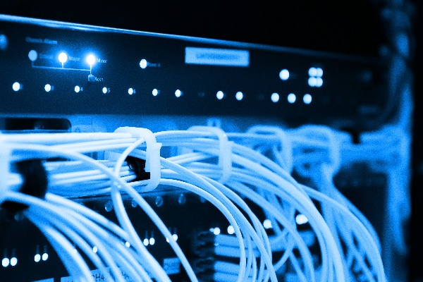 Stock image of computing infrastructure and wiring.